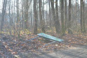 Die Kotschanowitzer Ortsschilder wurden von Vandalen herausgerissen und liegengelassen. Zum Glück waren sie nicht ernsthaft beschädigt und konnten bald wieder aufgestellt werden. Foto: W. Dobrowolski