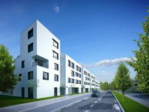Tak mają w przyszłości wyglądać ulice nowej dzielnicy Wrocławia, z których kilka będzie nosiło imiona niemieckich architektów. Wizualizacja: Deweloper Osiedla Rodzinne.